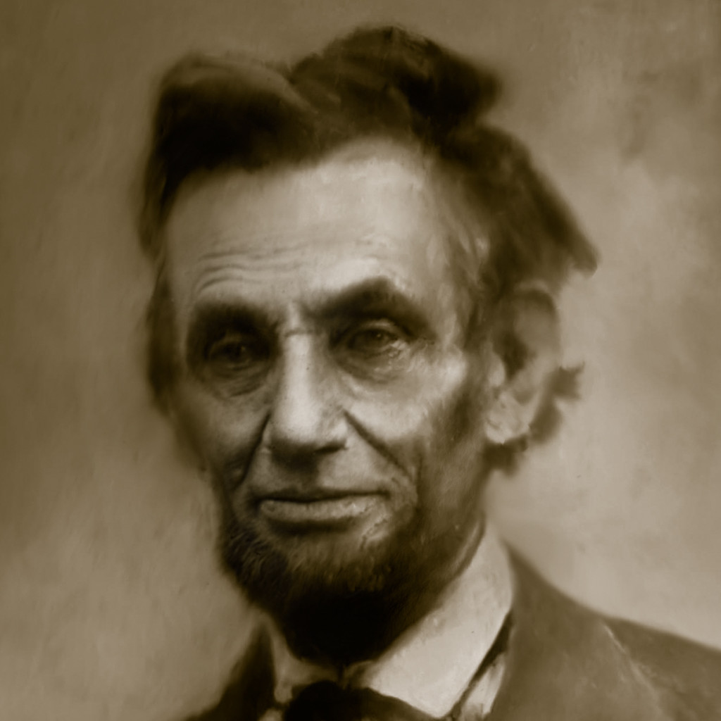 Lincoln with Ribbon Duotone Closeup